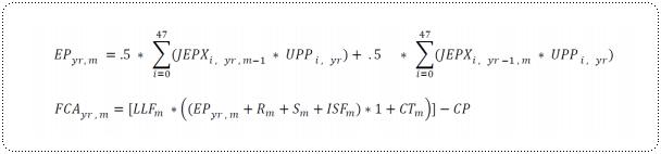 エレトスの市場電源調達調整費の計算式