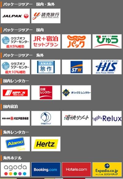 エルピオクラブオフの旅行優待割引のある企業例