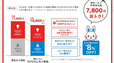 東京電力エナジーパートナーの電気とガスセット「オトク額」
