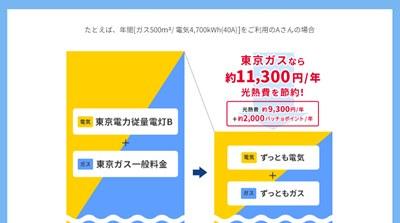 東京ガスの電気とガスセット「オトク額」