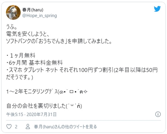 ソフトバンクおうちでんき口コミ情報2