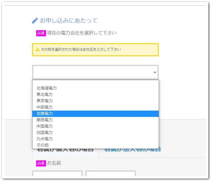 ジャパン電力の申し込みページ キャプチャー4