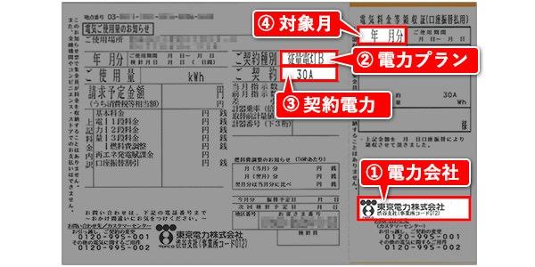 東京電力の検針票サンプル
